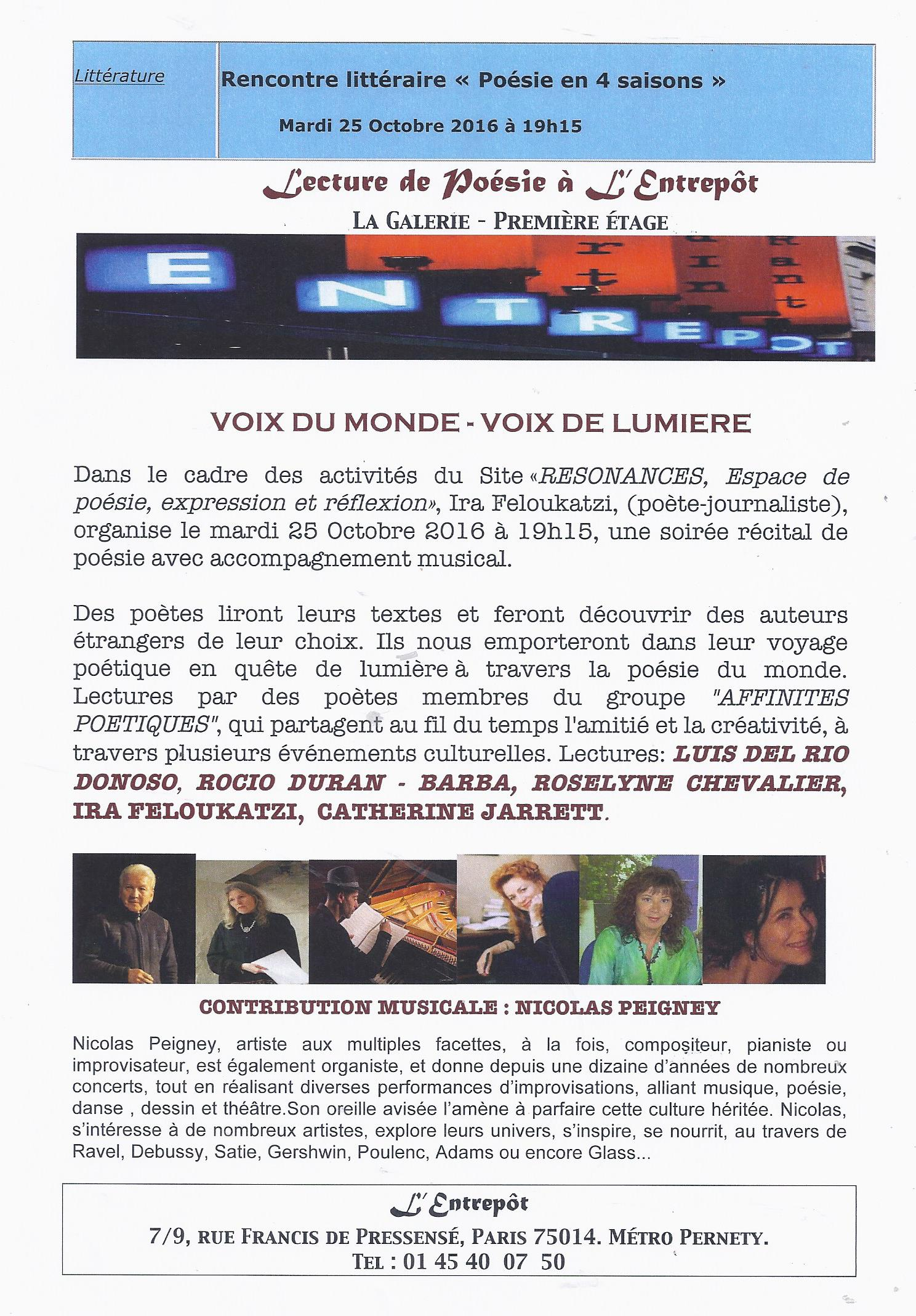 EVENEMENT LITERAIRE ET MUSICAL